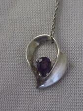 """SIGNED DO STERLING SILVER 18"""" CHAIN W/ STERLING & 1/3 CT AMETHYST PENDANT"""