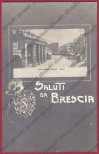 BRESCIA CITTÀ 113 SALUTI da... VIOLA STEMMA Cartolina viaggiata 1908 REAL PHOTO