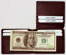 10 PCS Mens Leather BROWN Bifold MONEY CLIP WALLETS L Shape 9 Cards 1 ID 228