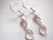 Cultured Pearl and Rose Quartz 925 Sterling Silver Dangle Earrings