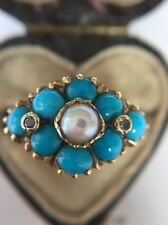 Antique Victorian Yellow Gold Pretty Turquoise Turquoise Pearl And Diamond Ring