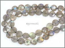 Labradorite Faceted Flat Round Coin Beads 8mm A #85292
