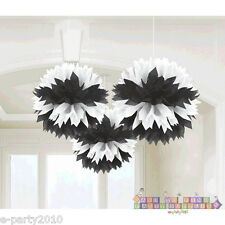 BLACK & WHITE FLUFFY DECORATIONS (3) ~ Wedding Bridal Baby Shower Party Supplies