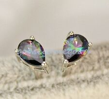 18K White Gold Filled-MYSTICAL Rainbow Waterdrop Topaz Cocktail Lady Earrings 01