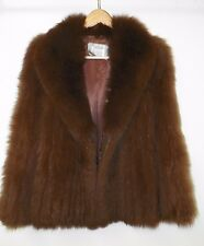 WOMEN'S BROWN SAGA FOX HIDDEN HOOK JACKET COAT APPROX SIZE M EUC