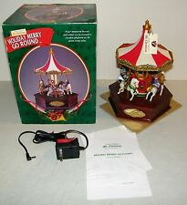 Mr Christmas Holiday Merry Go Round Carousel 50 Songs, Animated Horses In Box