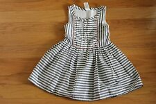 NWT Gymboree Animal Party Black Stripe Dress with Neon Coral Pom Pom Trim Size 4