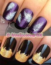 nail art set #81 fluffy feathers water transfers/decals/sticker & FREE GOLD LEAF