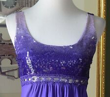 Charlotte Russe Purple Sequined Jersey Knit Bubble Hem Empire Dress S NWTs