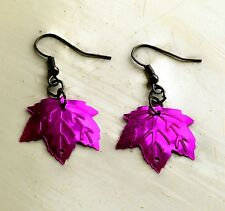 FABULOUS HANDMADE MAGENTA LEAF SEQUIN DROP/DANGLE PARTY EARRINGS BRAND NEW