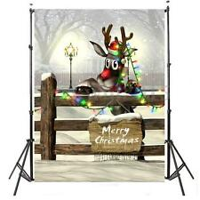 3x5FT Christmas Elk Deer Snow Backdrop Studio Photography Photo Background Props