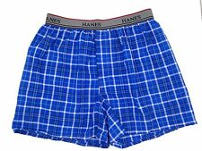 $37 HANES BOYS GRAY BLUE CLASSIC FIT KIDS COTTON COMFORT WOVEN BOXER SIZE XL