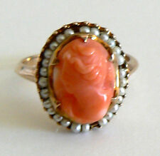 Vintage Art Deco Very Pretty Coral Ring 10KT Yellow Gold Seed Pearl Antique