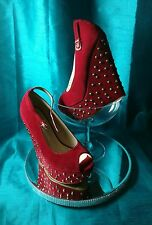 Koi Couture Red Faux Suede High Wedge Brass Studded Platform Shoes UK 5 Euro 38