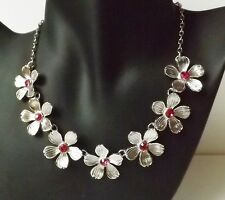 Blumen Kette Halskette Blüten Collier Kristall Strass rhodiniert pink silber