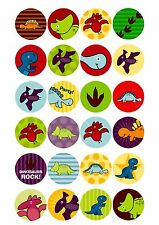 24 Edible cake toppers decorations cartoon Dinosaurs NEW Colourful design!