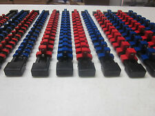MOUNTABLE ABS ~ 12 ~ RED / BLUE SOCKET HOLDER RAIL RACK ORGANIZER TRAY BALL CLIP