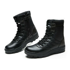 MENS LEATHER WATERPROOF MILITARY BOOTS POLICE SAFETY CAP WORK SHOES UK