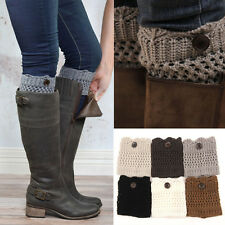 6pcs/lot Women's Winter Knitted Leg Warmers Boot Cuffs Warm Wave Button Socks