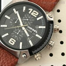 Diesel Mens Overflow Brown Leather Strap Black Dial Chronograph Watch DZ4296 NWT