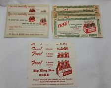 Lot of 10 Vintage Coca-Cola Coke Free 6-Pack Carton Coupons 3 Assorted Styles