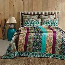 Capri 100% Cotton Bohemian King Quilt Multicolor Floral Strip Quilted Bedspread
