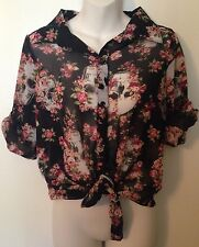 Goth Punk Skull & Floral Lace Back Tie Front Sheer Blouse Sz Large