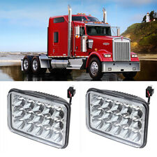PAIR CREE LED HEADLIGHTS SEALED HI/LO BEAM SQUARE FIT for TRUCKS Kenworth W900