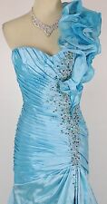 Size 8 Tony Bowls $500 Long Gown Prom Formal Mermaid Turquoise 1 Shoulder Dress