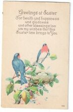 Easter Greetings Birds Robins and Nest w Eggs Vintage Karle Postcard