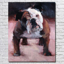 Hand-painted English Bulldog abstract art canvas animal oil painting unframed