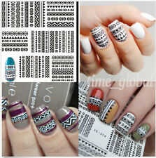 1Sheet Tribal Black Lace Images Nail Art DIY Water Decals Transfer Stickers