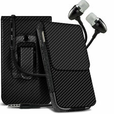 Vertical Carbon Fibre Belt Holster Case & Handsfree For Doogee F5