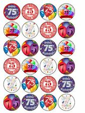 """24 x Happy 75th  Birthday Mix 1.5"""" PRE-CUT PREMIUM RICE PAPER Cup Cake Toppers"""