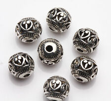 20pcs Antique Silver Hollow Round Loose Spacer Beads Charm Findings Craft 8mm