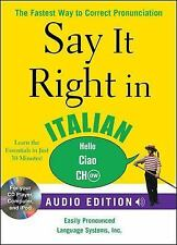 2009-09-11, Say It Right in Italian (Audio CD and Book): The Fastest Way to Corr