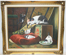 LARGE BEAUTIFUL FRAMED OIL PAINTING ON CANVAS CAT KITTENS PLAYING SIGNED 29 X 25