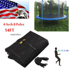 14ft 4 Arch 8Pole Round Trampoline Enclosure Net Fence Replacement Safety Mesh V