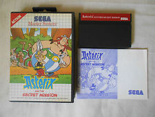 "ASTERIX AND THE SECRET MISSISION "" RARO "" SEGA MASTER SYSTEM COMPLETO PAL  JEU"