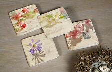 SET OF 4 VINTAGE COUNTRY STYLE FRENCH ANTIQUE CREAM CERAMIC FLOWER COASTERS