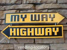 MY WAY HIGHWAY METAL VINTAGE LOOK SIGNS MAN CAVE, GARAGE, OFFICE CONSTRUCTION