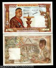 LAOS LAO 100 KIP P6 1957 KING DRAGON LARGE UNC CURRENCY ELEPHANT TUSK BILL NOTE