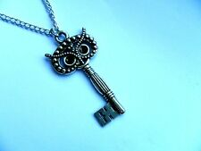 Unusual OWL Key Silver Chain  Necklace