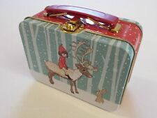 Belle & Boo Small Case Tin - Lunch Box Suitcase - Christmas Winter Snow - Gift