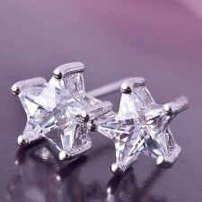 Womens Mens Childrens White Gold Filled Rhinestone Silver Star Stud Earrings
