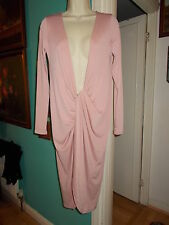 NEW Size 10 DARE TO BARE Pink Plunge Neck Dress Long Sleeves