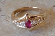 ❤️Vintage 14k Gold Marquise Cut Natural Ruby & Round Cut Diamond Ring - Size 6❤️