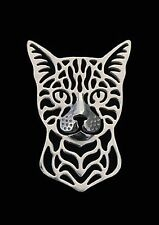 Bengal Cat Brooch or Pin -Fashion Jewellery Silver Plated, Stud Back