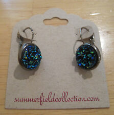 Gunmetal Hematite~Blue Green Yellow Faux Druzy Stone~12mm Round~Drop Earrings~1""