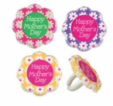 24 Mother's Day Flower Cupcake Cake Rings  Party Favors Cake Topper